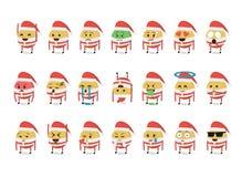 Σύνολο αστείου διανύσματος emoticon που απομονώνεται στο άσπρο υπόβαθρο νέο έτος θέματος Στοκ Εικόνες