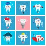 Σύνολο αστείων εικονιδίων των δοντιών Στοκ Εικόνες