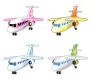 Σύνολο αστείων διανυσματικών ζωηρόχρωμων αεροπλάνων διανυσματική απεικόνιση