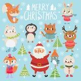 Σύνολο αστείων προσωπικοτήτων Χριστουγέννων Στοκ Εικόνες