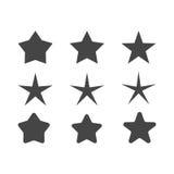 Σύνολο αστεριών με τη διαφορετική ακτίνα των αιχμηρών και στρογγυλών γωνιών ακτίνων Στοκ Εικόνες