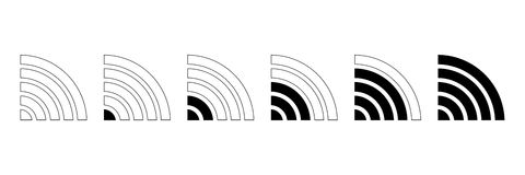 σύνολο ασύρματου σημαδιού έντασης για τον Ιστό και σχεδίου Στοκ Φωτογραφία