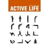 Σύνολο ατόμων ραβδιών άσκησης προθέρμανσης Στοκ Φωτογραφία