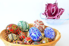 Σύνολο αυγό-καλαθιών Πάσχας των αυγών Στοκ Εικόνες