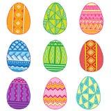 Σύνολο αυγών Πάσχας Διανυσματικά ζωηρόχρωμα αυγά που απομονώνονται στο άσπρο υπόβαθρο Στοκ φωτογραφίες με δικαίωμα ελεύθερης χρήσης