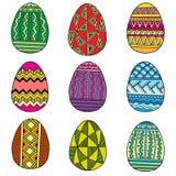 Σύνολο αυγών Πάσχας Διανυσματικά ζωηρόχρωμα αυγά που απομονώνονται στο άσπρο υπόβαθρο Στοκ εικόνες με δικαίωμα ελεύθερης χρήσης