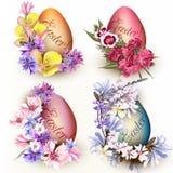 Σύνολο αυγών Πάσχας που διακοσμούνται από τα λουλούδια Στοκ φωτογραφία με δικαίωμα ελεύθερης χρήσης