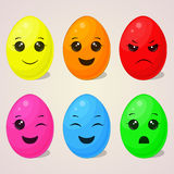Σύνολο αυγών Πάσχας kawaii με τις διαφορετικές συγκινήσεις για το σχέδιό σας στο ύφος κινούμενων σχεδίων επίσης corel σύρετε το δ Στοκ Εικόνα