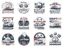Σύνολο αυτοκινήτου που συναγωνίζεται τα χρωματισμένα εμβλήματα, τις ετικέτες, τα λογότυπα και τα διακριτικά φυλών πρωταθλήματος μ Στοκ Εικόνες