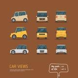 Σύνολο αυτοκινήτων απόψεων κινούμενων σχεδίων Στοκ Φωτογραφία