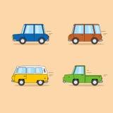 Σύνολο αυτοκινήτων κινούμενων σχεδίων: φορείο, μίνι φορτηγό, φορτηγό χίπηδων, ανοιχτό φορτηγό Στοκ φωτογραφία με δικαίωμα ελεύθερης χρήσης