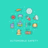 Σύνολο αυτοκινητικού εξοπλισμού ασφάλειας Στοκ φωτογραφίες με δικαίωμα ελεύθερης χρήσης