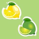 Σύνολο αυτοκόλλητων ετικεττών απεικόνισης φρούτων λεμονιών και ασβέστη στοκ εικόνα