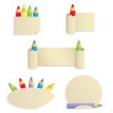 Σύνολο 5 αυτοκόλλητων ετικεττών εγγράφου με τα χρωματισμένα μολύβια απεικόνιση αποθεμάτων