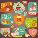 Σύνολο αυτοκόλλητων ετικεττών κέικ Στοκ εικόνα με δικαίωμα ελεύθερης χρήσης