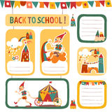 Σύνολο αυτοκόλλητων ετικεττών και ετικετών των παιδιών σχολείου με τα σπίτια Στοκ Φωτογραφίες