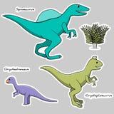 Σύνολο αυτοκόλλητων ετικεττών των τυποποιημένων δεινοσαύρων με μια ηθική ζωγραφική διανυσματική απεικόνιση