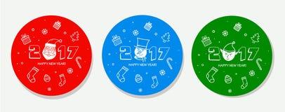 Σύνολο αυτοκόλλητων ετικεττών Χριστουγέννων απεικόνιση αποθεμάτων
