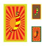 Σύνολο αφίσας με τη μεξικάνικη τυλιγμένη πιπέρια κορδέλλα Στοκ φωτογραφία με δικαίωμα ελεύθερης χρήσης