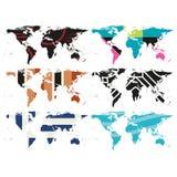 Σύνολο αφηρημένου διανύσματος παγκόσμιων χαρτών Στοκ φωτογραφία με δικαίωμα ελεύθερης χρήσης