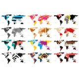 Σύνολο αφηρημένου διανύσματος παγκόσμιων χαρτών Στοκ Φωτογραφίες
