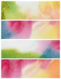 Σύνολο αφηρημένου χρωματισμένου watercolor υποβάθρου Έγγραφο Στοκ Φωτογραφία