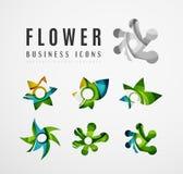 Σύνολο αφηρημένων επιχειρησιακών εικονιδίων λογότυπων λουλουδιών Στοκ Εικόνα
