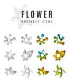 Σύνολο αφηρημένων επιχειρησιακών εικονιδίων λογότυπων λουλουδιών Στοκ Εικόνες