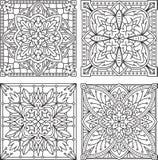 Σύνολο 4 αφηρημένων διανυσματικών μαύρων τετραγωνικών σχεδίων δαντελλών στη μονο γραμμή Στοκ Φωτογραφία