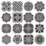 Σύνολο αφηρημένων ιερών συμβόλων γεωμετρίας στο κελτικό ύφος κόμβων Στοκ Εικόνες