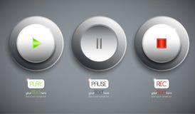 Σύνολο 3 αφηρημένων κουμπιών/εικονιδίων διανυσματική απεικόνιση
