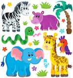 Σύνολο αφρικανικών ζώων 3 διανυσματική απεικόνιση