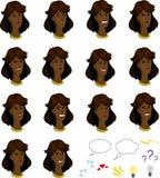 Σύνολο αφροαμερικανός θηλυκών προσώπων κινούμενων σχεδίων με Στοκ Εικόνες