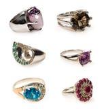 Σύνολο δαχτυλιδιών με τις πέτρες Στοκ φωτογραφία με δικαίωμα ελεύθερης χρήσης