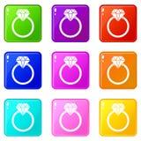 Σύνολο 9 δαχτυλιδιών LGBT Στοκ εικόνα με δικαίωμα ελεύθερης χρήσης