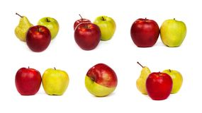 Σύνολο αχλαδιών και κόκκινων πράσινων μήλων μήλων και στο λευκό Στοκ φωτογραφία με δικαίωμα ελεύθερης χρήσης