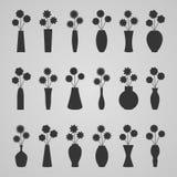 Σύνολο βάζων με τα λουλούδια, απεικόνιση Στοκ Φωτογραφίες