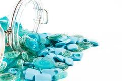 Σύνολο βάζων των μπλε κουμπιών Στοκ εικόνες με δικαίωμα ελεύθερης χρήσης