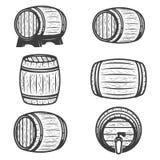 Σύνολο βαρελιών μπύρας που απομονώνεται στο άσπρο υπόβαθρο διάνυσμα εικόνας απεικόνισης στοιχείων σχεδίου απεικόνιση αποθεμάτων