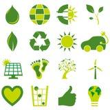 Σύνολο βιο περιβαλλοντικών σχετικών εικονιδίων και συμβόλων eco Στοκ εικόνες με δικαίωμα ελεύθερης χρήσης