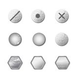 Σύνολο βιδών και μπουλονιών μετάλλων απεικόνιση αποθεμάτων