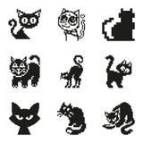 Σύνολο γάτας εικονοκυττάρου στο απλό ελάχιστο μαύρο ύφος Στοκ φωτογραφίες με δικαίωμα ελεύθερης χρήσης