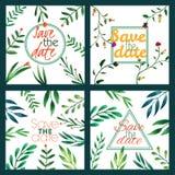 Σύνολο γαμήλιας πρόσκλησης κουνέλι δώρων καρτών γενεθλίων floral σειρά πλαισίων πλαισίων Ανασκόπηση Watercolor με τα λουλούδια Στοκ Εικόνα