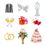 Σύνολο γαμήλιων εικονιδίων διανυσματική απεικόνιση