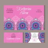 Σύνολο γαμήλιων καρτών πρόσκλησης με τη θέση για το κείμενο Στοκ Εικόνα