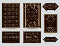 Σύνολο γαμήλιων καρτών του Art Deco Στοκ Φωτογραφία