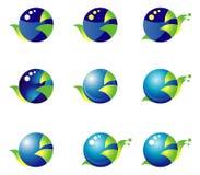 Σύνολο 9 γαλαζοπράσινα εικονίδια βάσει ενός κύκλου Σαλιγκάρι Στοκ Εικόνες