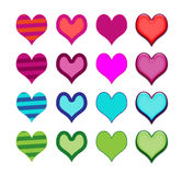 Σύνολο γενικών εικονιδίων ή κουμπιών καρδιών Στοκ Εικόνα