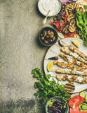 Σύνολο γευμάτων κομμάτων θερινών σχαρών, διάστημα αντιγράφων Στοκ Εικόνα