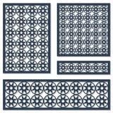 Σύνολο γεωμετρικού σχεδίου διακοσμήσεων καρτών Διακοσμητικό στοιχείο για την κοπή λέιζερ κατασκευασμένος παραδοσιακός διανυσματικ Στοκ φωτογραφία με δικαίωμα ελεύθερης χρήσης